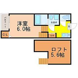 愛知県名古屋市北区志賀町4丁目の賃貸アパートの間取り