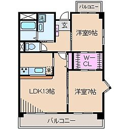 神奈川県川崎市中原区木月住吉町の賃貸マンションの間取り