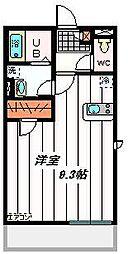 東武東上線 朝霞台駅 徒歩20分の賃貸マンション 1階ワンルームの間取り