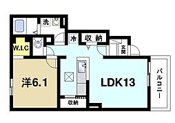アルカンシエルI 1階1LDKの間取り