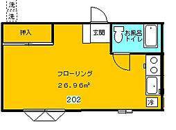 長谷川ハイツ[202号室]の間取り