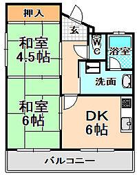 兵庫県伊丹市下河原1丁目の賃貸マンションの間取り