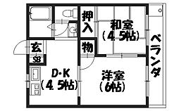 京都府京都市南区久世東土川町の賃貸アパートの間取り