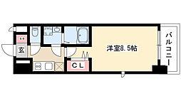 エントピア桜山 8階1Kの間取り