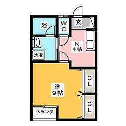 Myroom広瀬[1階]の間取り