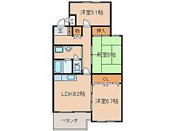 サンハイツ石田[3階]の間取り