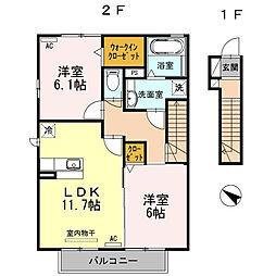 愛知県西尾市中畑町小井戸の賃貸アパートの間取り