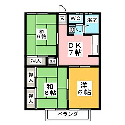 ルーナカーサA[2階]の間取り