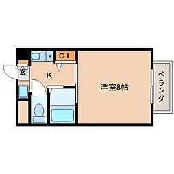 近鉄奈良線 菖蒲池駅 徒歩3分の賃貸マンション 3階1Kの間取り