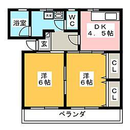森ハイツII[2階]の間取り