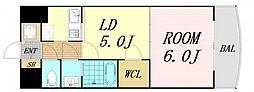 JR東海道・山陽本線 新大阪駅 徒歩8分の賃貸マンション 19階1LDKの間取り