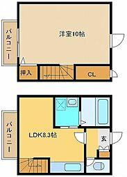 JR山陽本線 舞子駅 バス15分 県商前下車 徒歩7分の賃貸アパート 2階1LDKの間取り