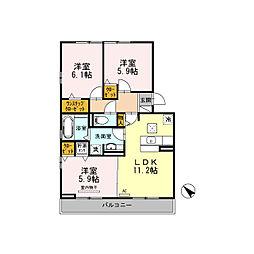 静岡県三島市北沢の賃貸アパートの間取り