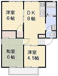 パナハイツヤマダB[202号室号室]の間取り