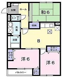 大阪府寝屋川市宝町の賃貸アパートの間取り