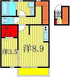ラ・ルーナ 2階1SKの間取り