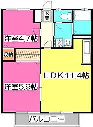 埼玉県所沢市中新井4丁目の賃貸アパートの間取り