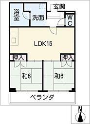 愛知県名古屋市西区枇杷島4丁目の賃貸マンションの間取り
