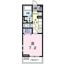 JR牟岐線 阿波富田駅 徒歩11分の賃貸アパート 2階1Kの間取り