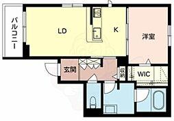 南海高野線 白鷺駅 徒歩15分の賃貸マンション 2階1LDKの間取り
