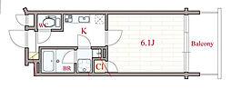 Osaka Metro谷町線 南森町駅 徒歩3分の賃貸マンション 6階1Kの間取り