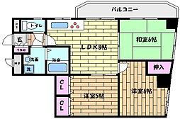 JR東海道・山陽本線 六甲道駅 徒歩12分の賃貸マンション 2階3LDKの間取り