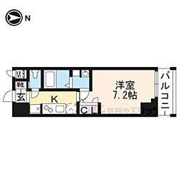 JR東海道・山陽本線 西大路駅 徒歩7分の賃貸マンション 7階1Kの間取り