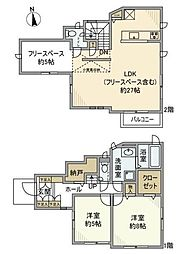 [一戸建] 神奈川県横浜市神奈川区白幡向町 の賃貸【/】の間取り