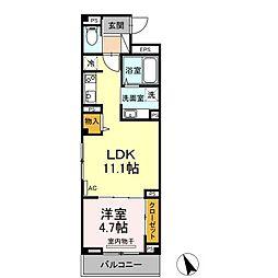 仙台市営南北線 広瀬通駅 徒歩4分の賃貸マンション 2階1LDKの間取り