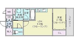 Osaka Metro御堂筋線 江坂駅 徒歩4分の賃貸マンション 4階1LDKの間取り