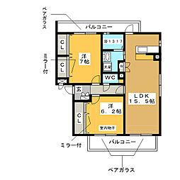 イーグル6[2階]の間取り