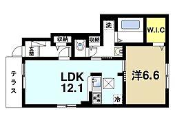 テルドールII 1階1LDKの間取り