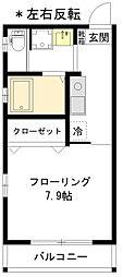 新築本町4丁目 1階1Kの間取り