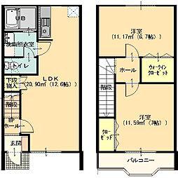 エスペランサ21 A棟 1階2LDKの間取り