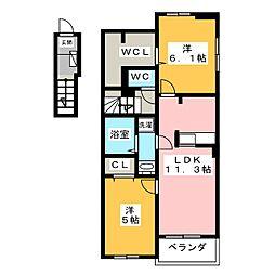 静岡県静岡市清水区南矢部の賃貸アパートの間取り