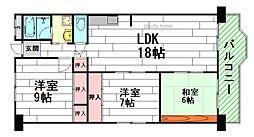 コープ野村江坂台[6階]の間取り