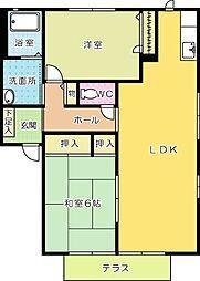 福岡県北九州市小倉南区高野3丁目の賃貸アパートの間取り