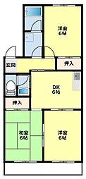プリンセスミユキ[3階]の間取り