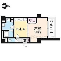 JR東海道・山陽本線 京都駅 徒歩9分の賃貸マンション 7階1Kの間取り