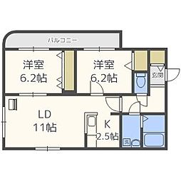 北海道札幌市東区北三十条東2丁目の賃貸マンションの間取り