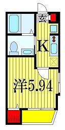 JR総武線 下総中山駅 徒歩7分の賃貸アパート 2階1Kの間取り