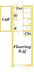 JR京浜東北・根岸線 本郷台駅 徒歩17分の賃貸アパート 2階1Kの間取り