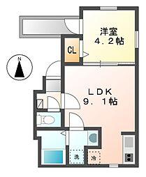 愛知県名古屋市中村区若宮町4丁目の賃貸アパートの間取り