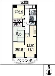 ドミー渡辺[5階]の間取り