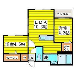 札幌市営東豊線 さっぽろ駅 徒歩5分の賃貸マンション 2階2LDKの間取り