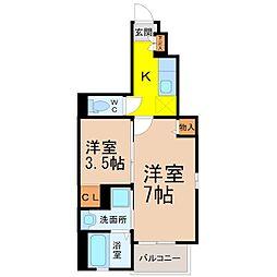 愛知県名古屋市東区矢田4の賃貸アパートの間取り