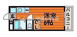 岡山県岡山市北区野殿東町の賃貸アパートの間取り