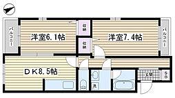 ファミール本田[401号室]の間取り
