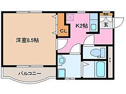 ロイヤルガーデン[1階]の間取り