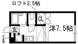 兵庫県宝塚市平井山荘の賃貸アパートの間取り